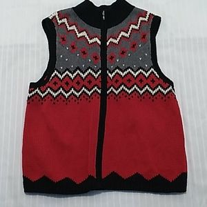 Coldwater Creek Red White & Gray Vest